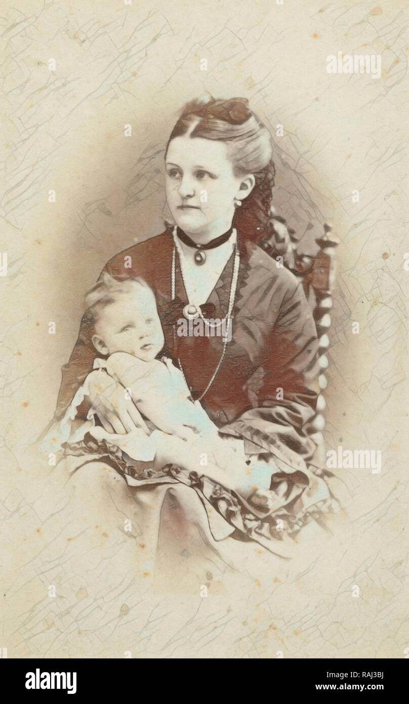 Portrait of a woman with a baby, WJ Gram Mann, c. 1870 - c. 1874. Reimagined by Gibon. Classic art with a modern reimagined - Stock Image