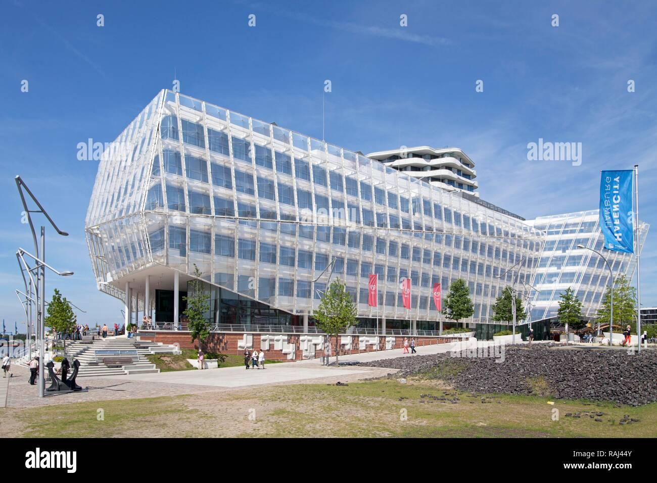 Unilever House and Marco Polo Tower, HafenCity quarter, Hamburg, PublicGround - Stock Image