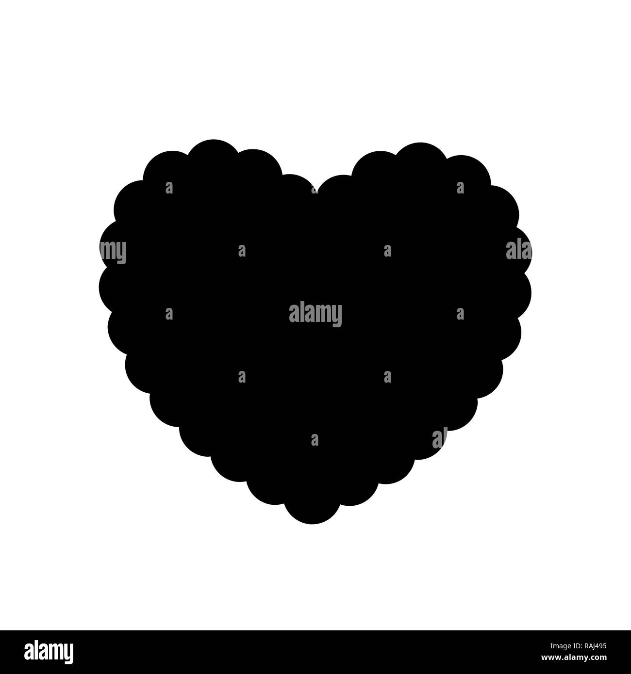 Black silhouette of wavy heart isolated on white background. Monochrome   illustration, symbol, sign, icon, clip art. - Stock Image