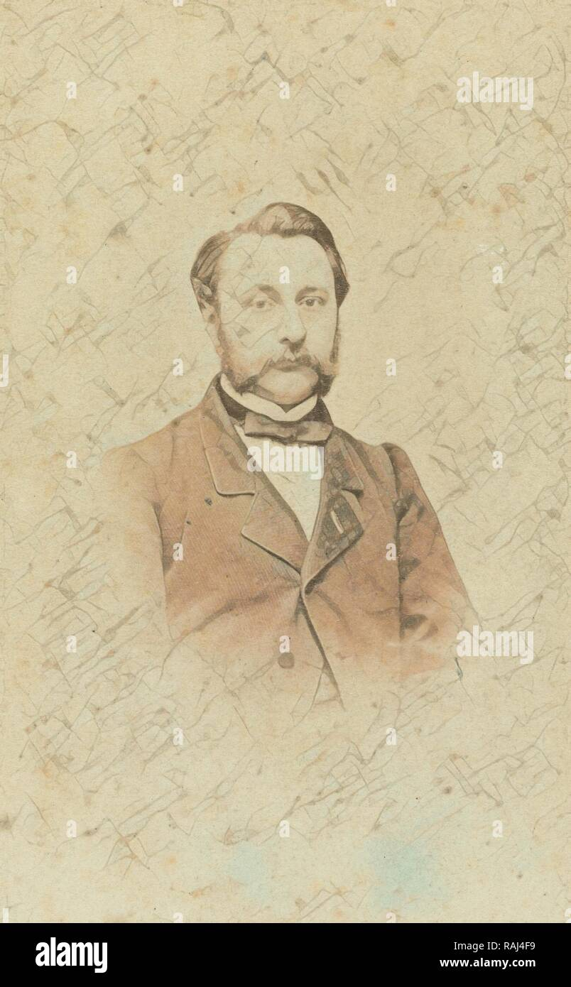 Portrait of a man with mustache, Lambertus Martinus Delboy, 1860 - 1880. Reimagined by Gibon. Classic art with a reimagined Stock Photo