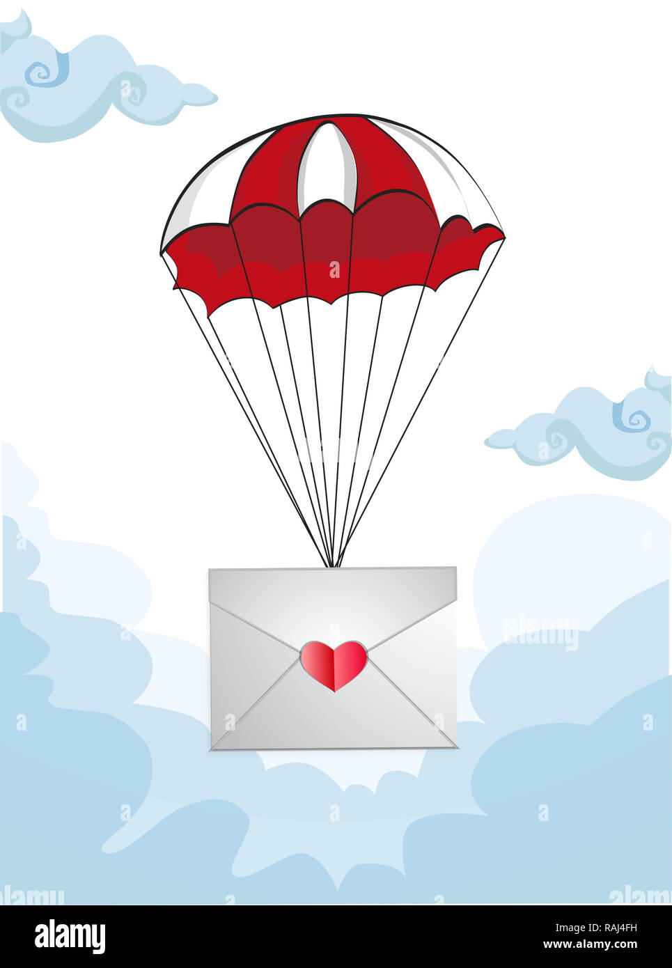 Illustration of envelope with heart stamp flying with parachute in blue sky among the clouds. Flying love letter in cartoon style. Valentine's Day car - Stock Image