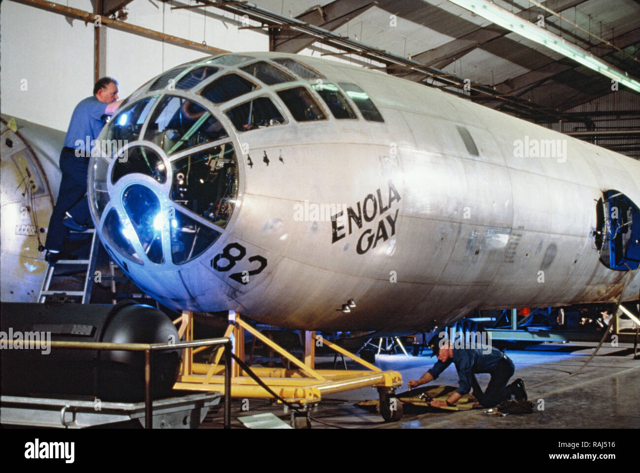 The Enola Gay being refurbished for exhibition at the Smithsonian Air and Space Museum. Photo by Dennis Brack Stock Photo