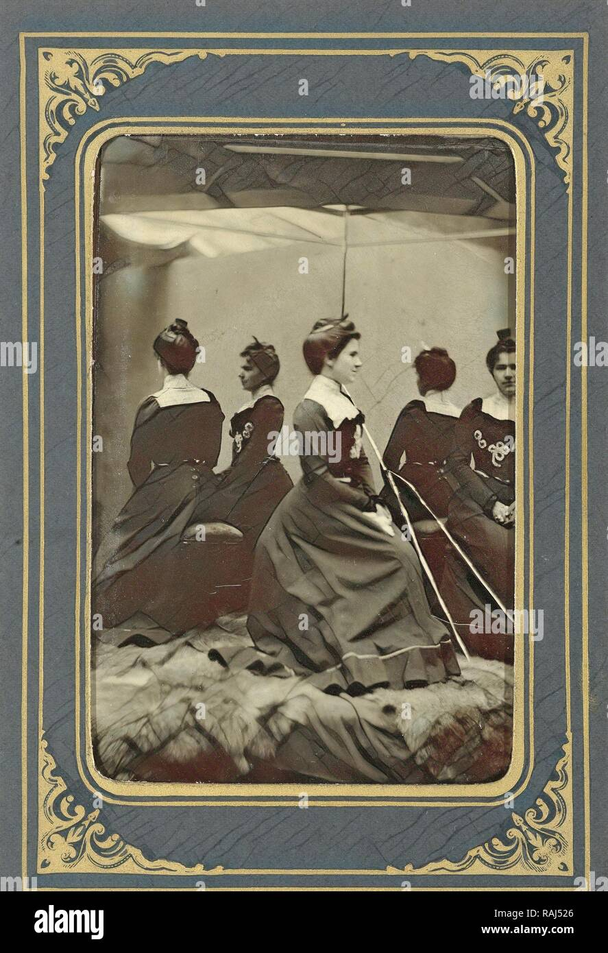 Portrait of Grace DeWitt, posing in front of a mirror, A. Lincoln Myers, Dating 1899. Reimagined by Gibon. Classic reimagined - Stock Image