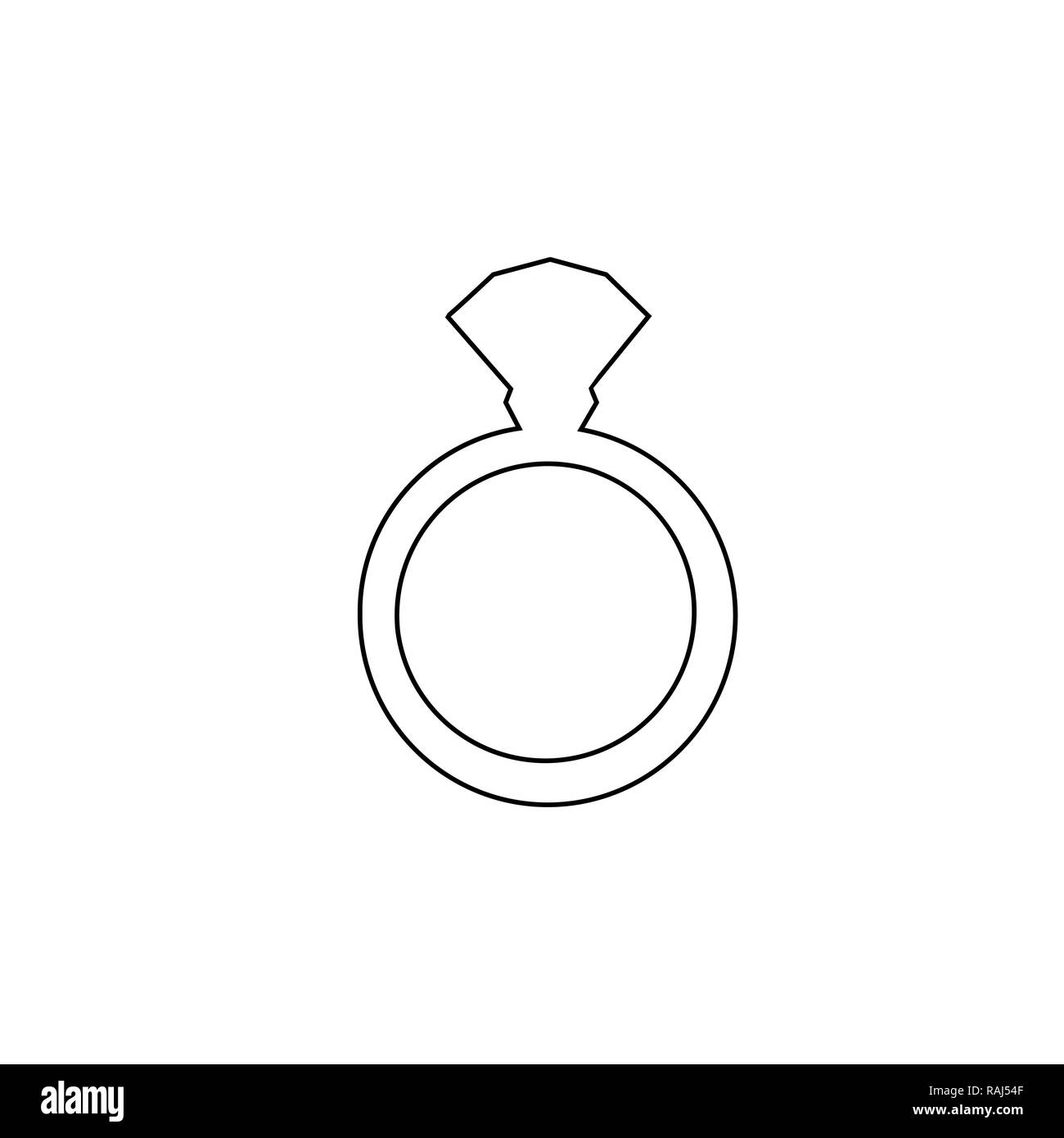 black outline silhouette of engagement ring with diamond