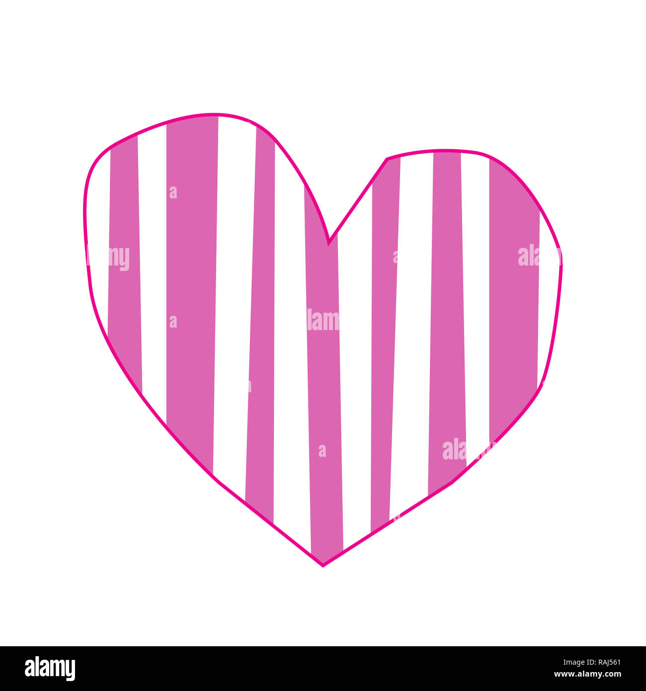 Cute big pink paper cut heart sticker with striped pattern isolated on white background. Valentine's day, or love wedding clip art, element, baby girl - Stock Image