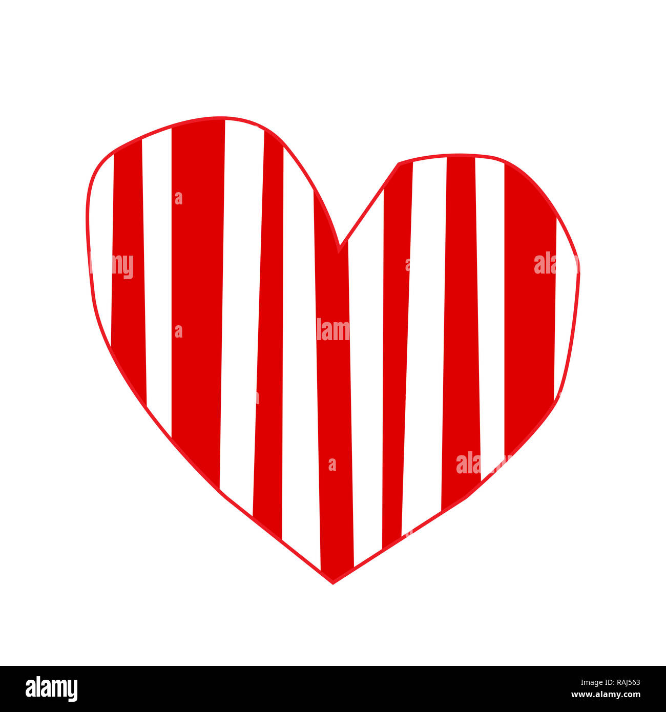 Cute Big Red Hand Drawn Heart Sticker With Striped Pattern Isolated