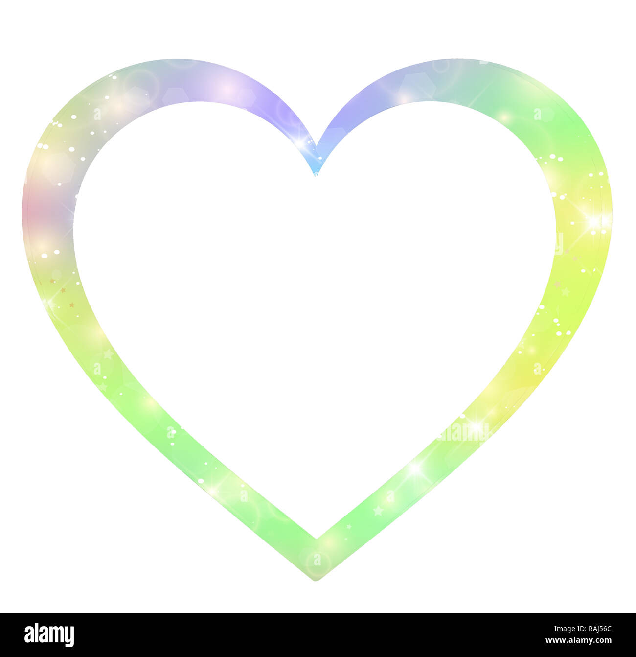 Fantasy Gradient Hologram Heart Shaped Border Template With Magic