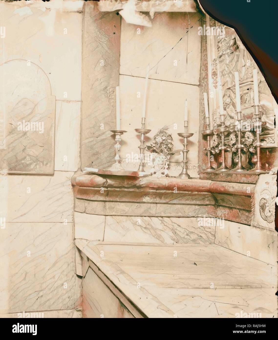 Via Dolorosa, beginning at St. Stephen's Gate The tomb, Fourteenth Station of the Cross 1900, Jerusalem, Israel reimagined - Stock Image