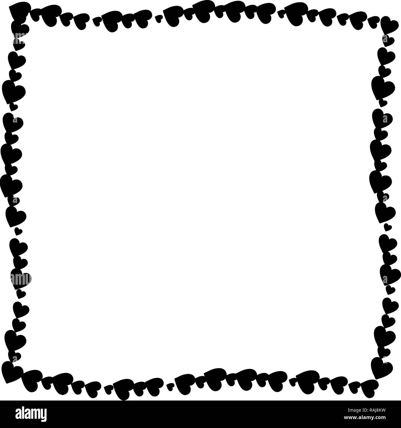 Love Twisted Frame Made Of Cartoon Black Different Sized Hearts
