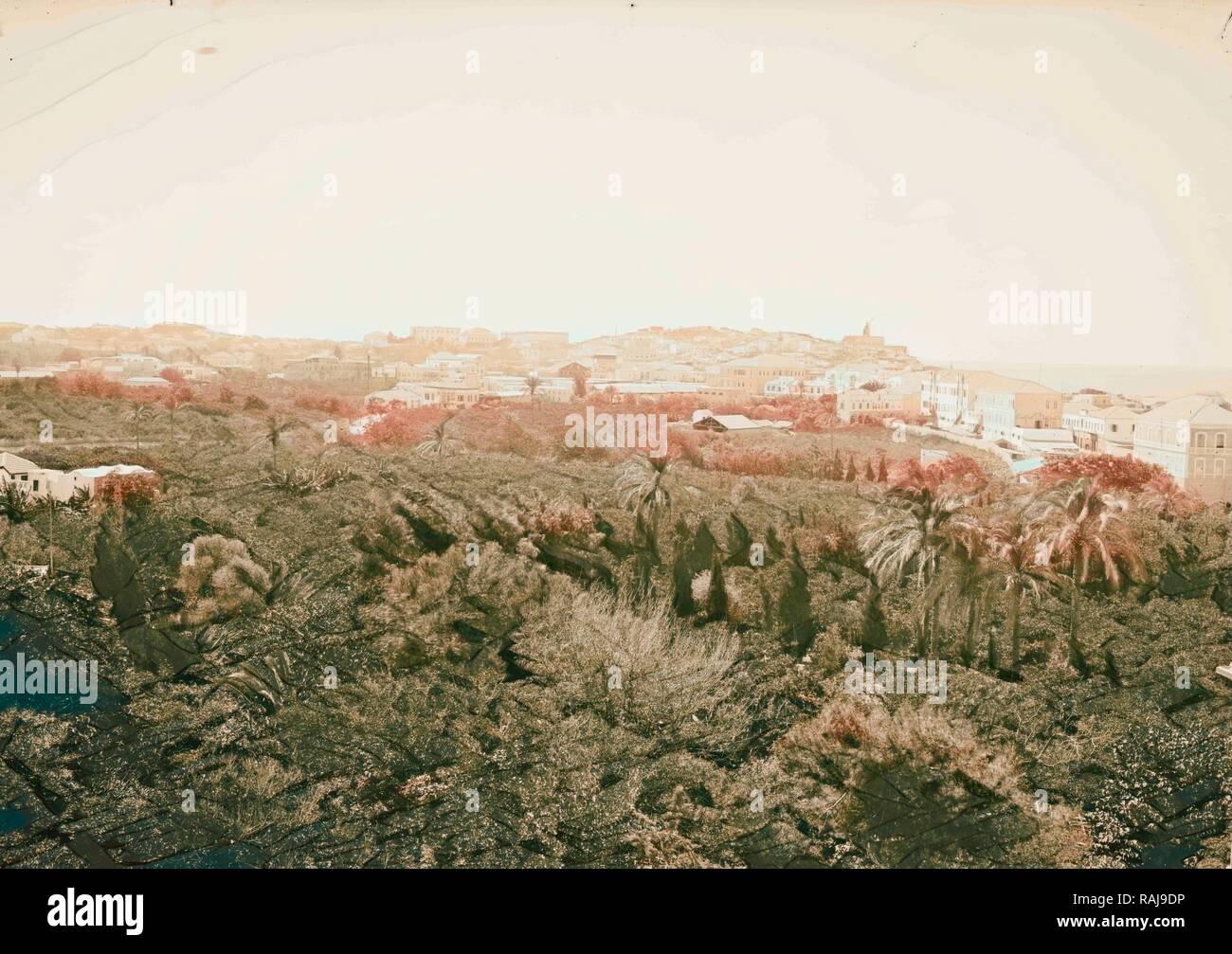 Jaffa (Joppa) and environs. Jaffa from the Hotel du Parc American Colony, Jerusalem. 1898, Israel, Tel Aviv reimagined - Stock Image