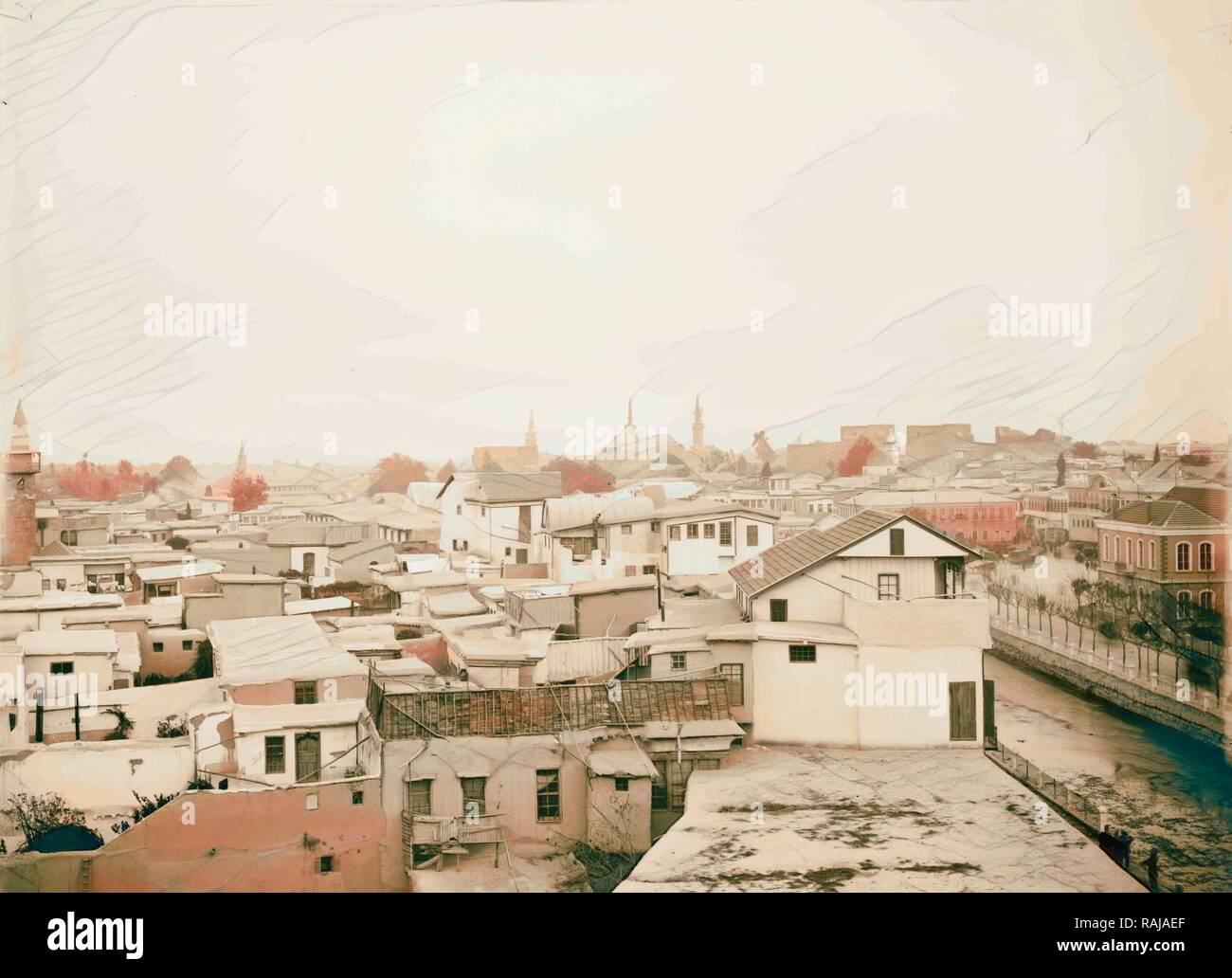 Damascus from Hotel Dimitri American Colony, Jerusalem. 1898, Syria, Damascus. Reimagined by Gibon. Classic art with reimagined - Stock Image