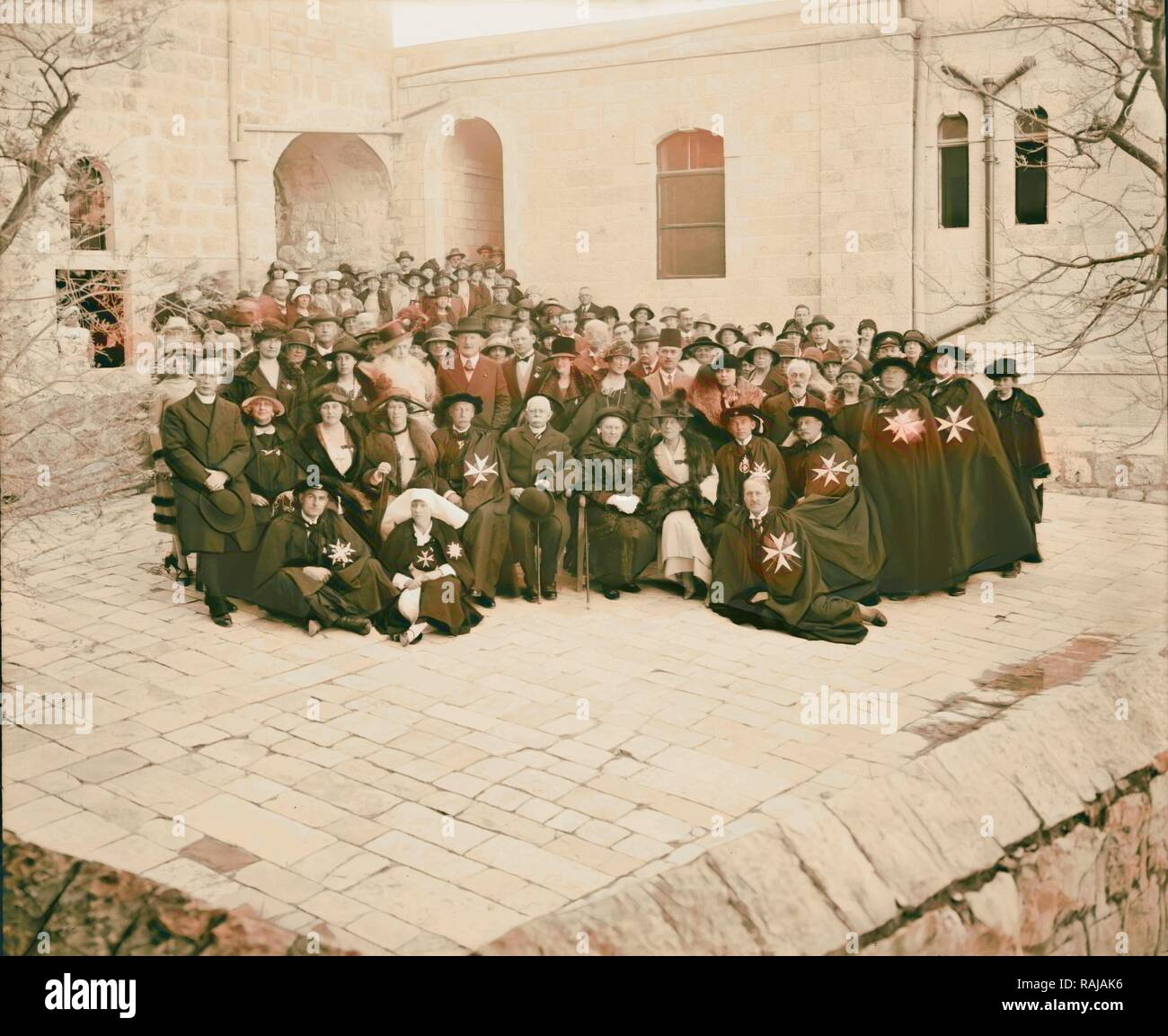 Entire staff, Ophthalmic Hospital 1898, Middle East, Israel. Reimagined by Gibon. Classic art with a modern twist reimagined - Stock Image