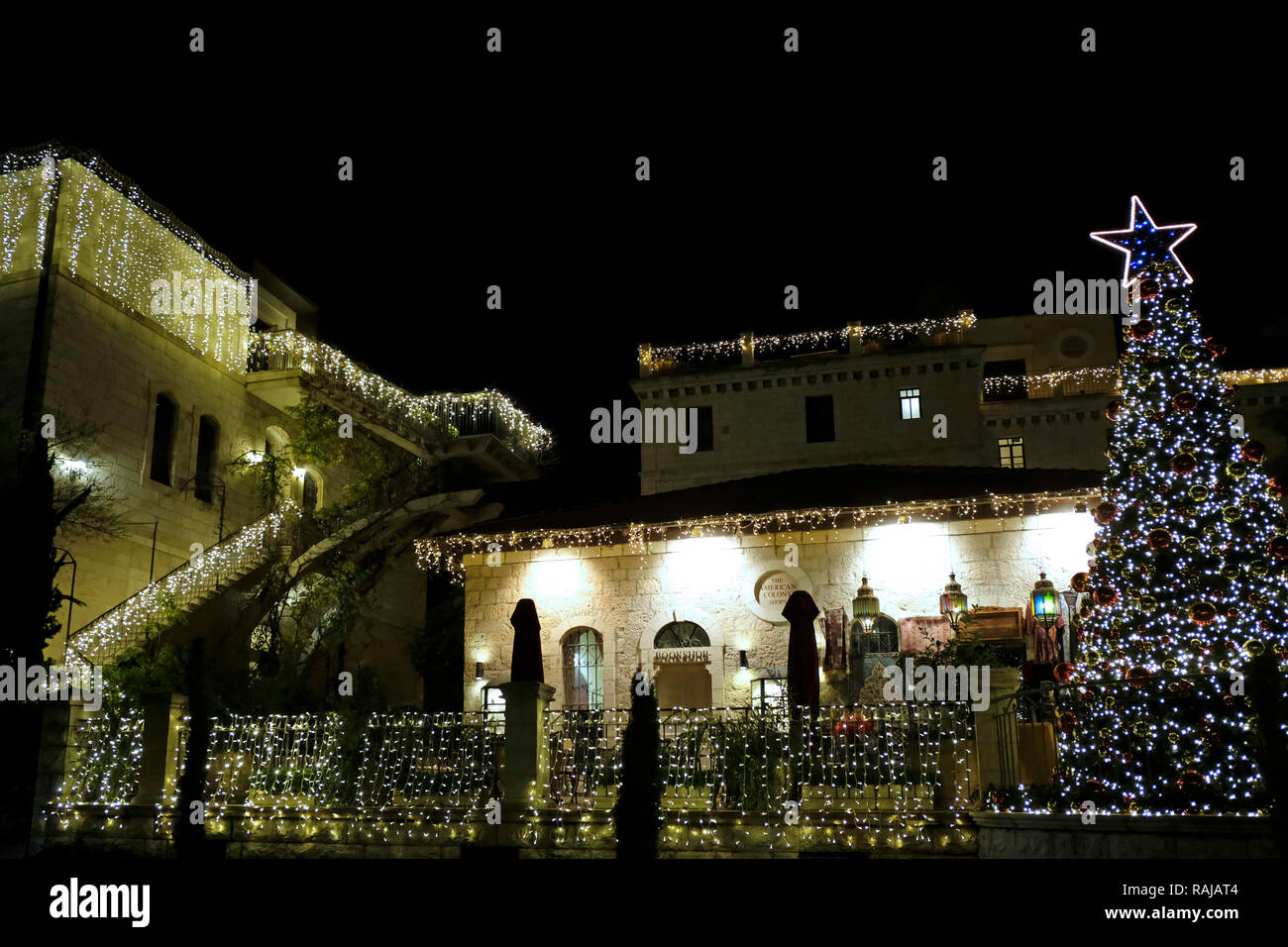 Christmas decorations of the American Colony Hotel complex located in a historic building which previously housed the utopian American-Swedish community known as the American Colony in East Jerusalem Israel - Stock Image