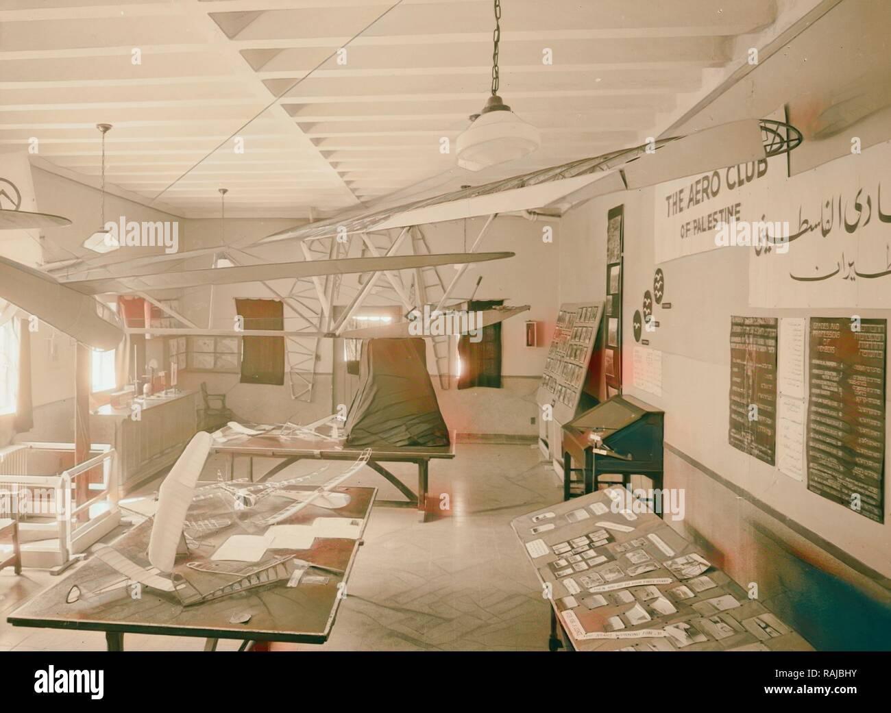 Y aeronautic exhibit, Apr. 1, 1944, Jerusalem, Israel. Reimagined by Gibon. Classic art with a modern twist reimagined - Stock Image