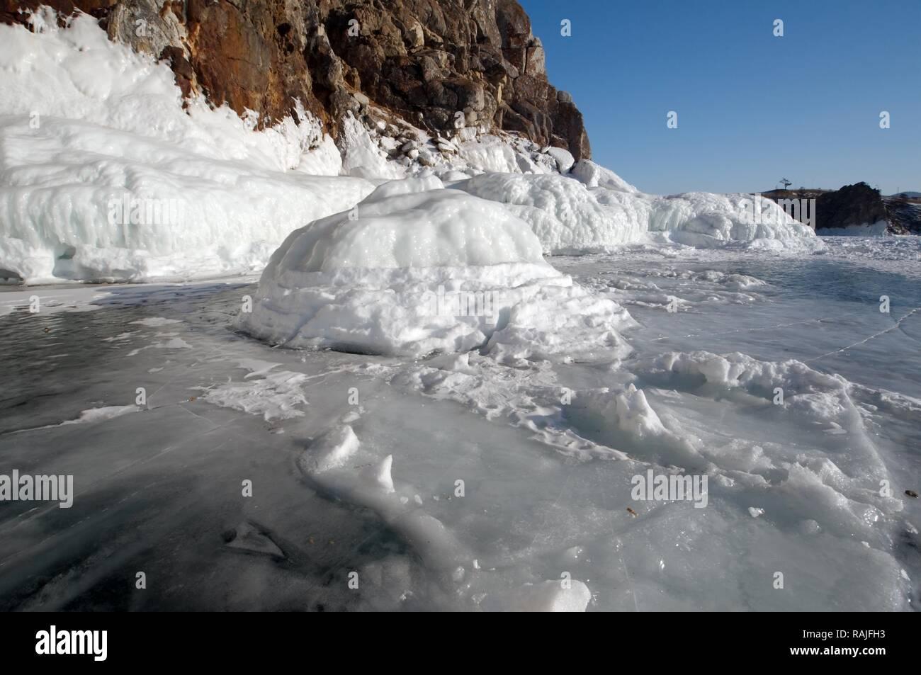 Ice, Olkhon island, Lake Baikal, Siberia, Russia, Eurasia - Stock Image