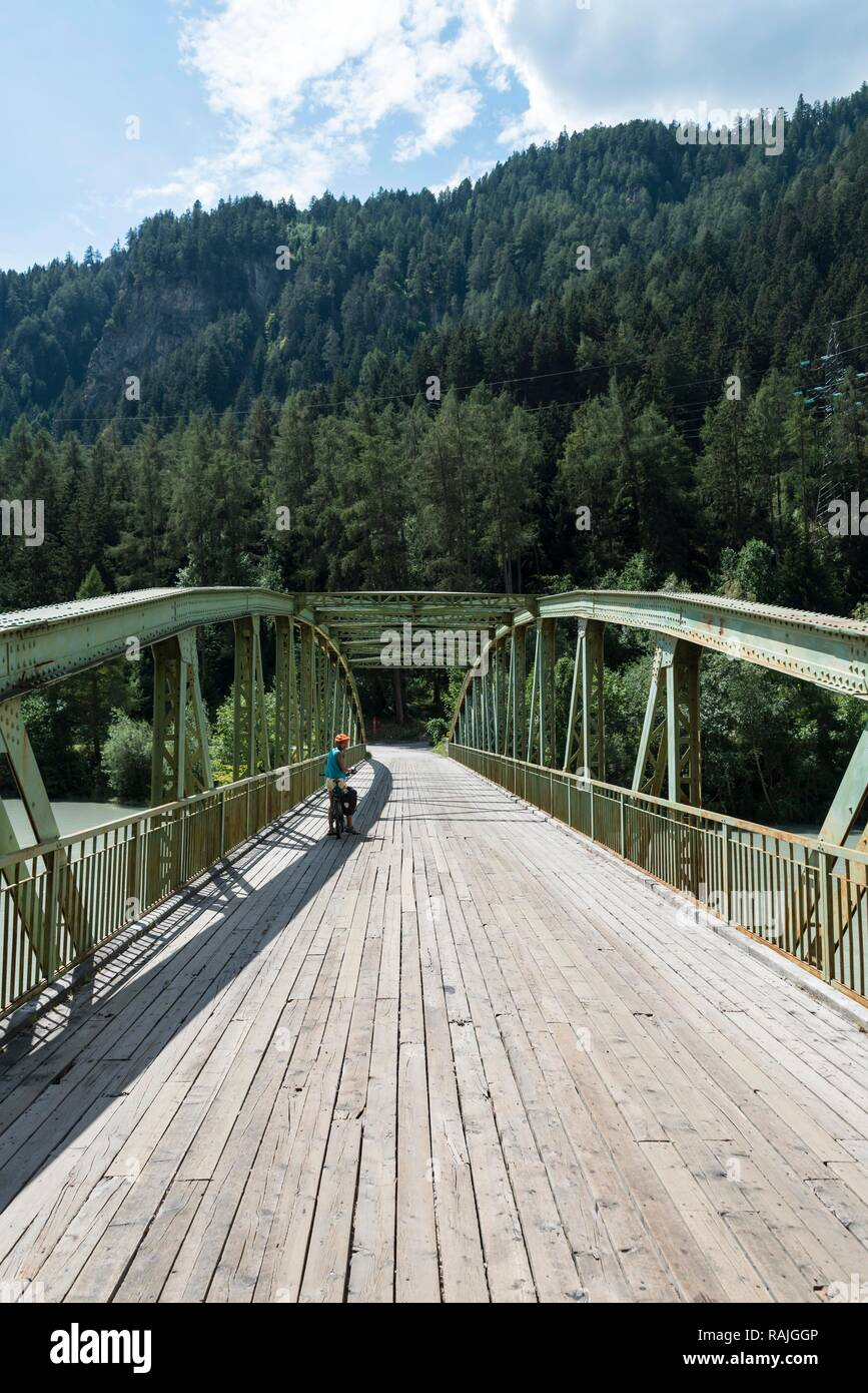 Cycle path Via Claudia Augusta, crossing the Alps, bridge over the Inn, Landeck, Austria - Stock Image