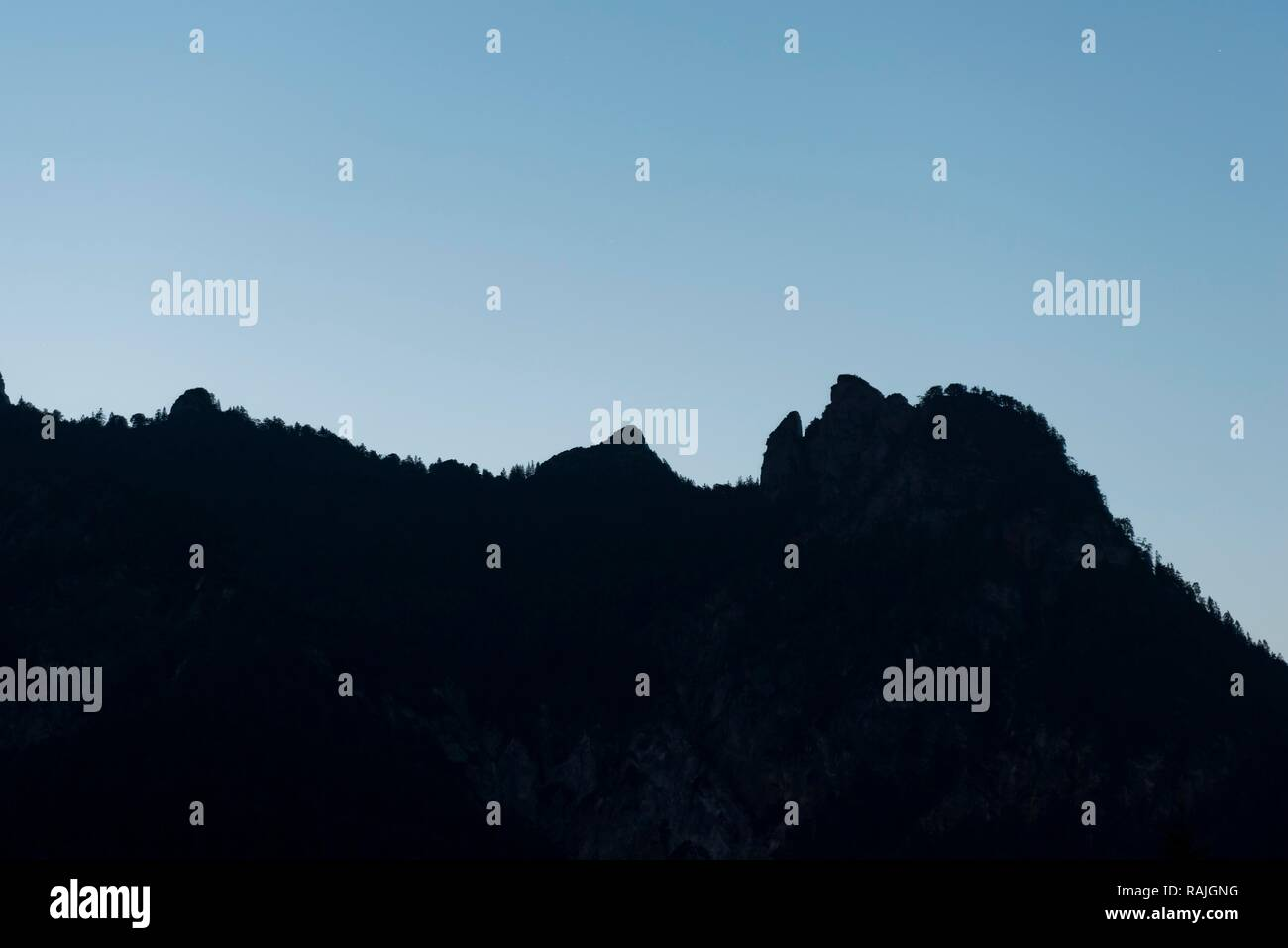 Striking mountain silhouette sleeping witch, resembles a lying woman, Rotofen towers in the Lattengebirge, Berchtesgaden - Stock Image
