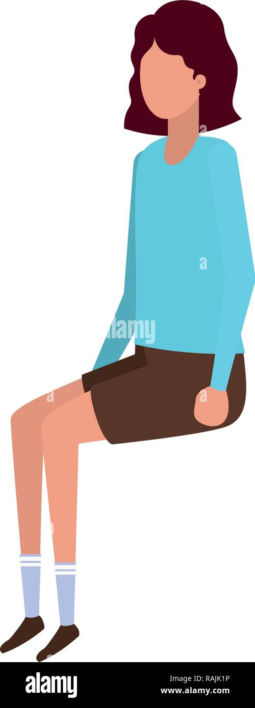 young woman sitting avatar character - Stock Vector