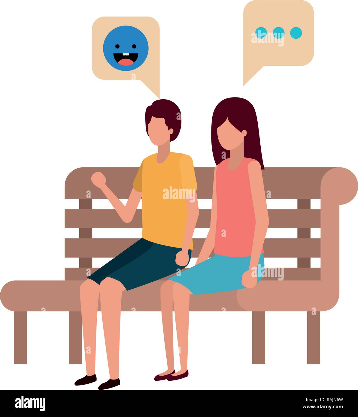 couple sitting in park chair avatar character - Stock Vector