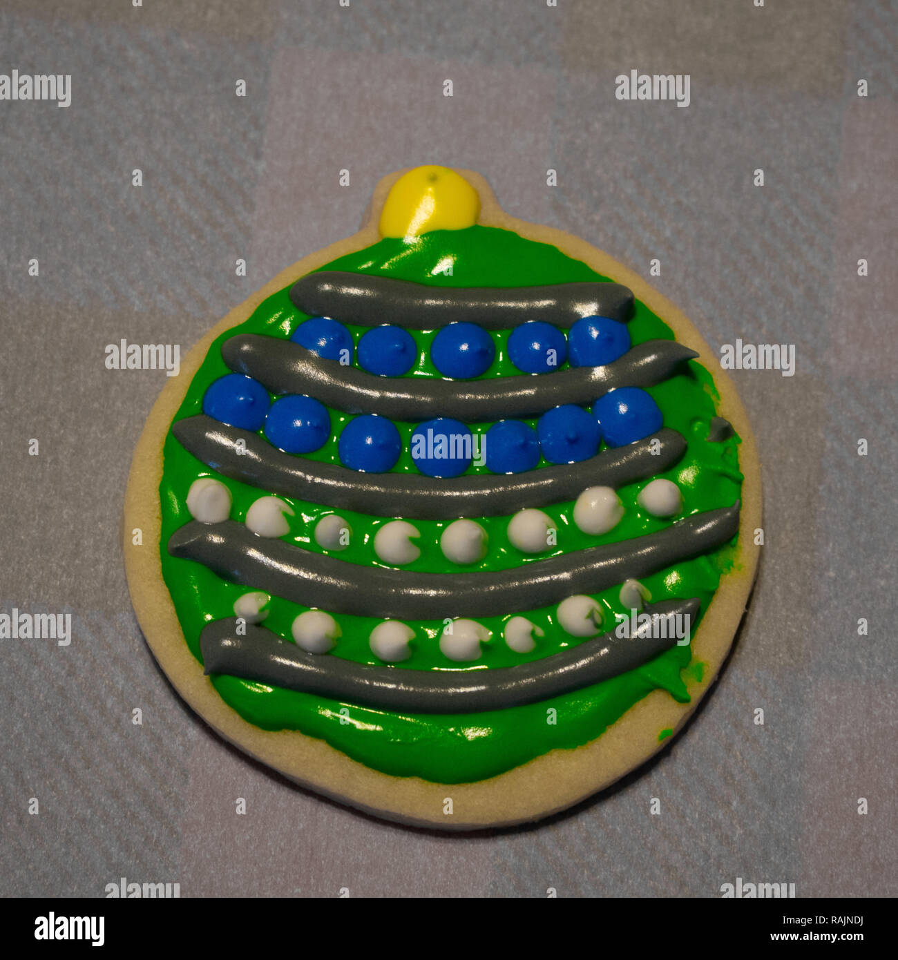 Festive Blue Green White Decorated Christmas Bulb Cookies Stock