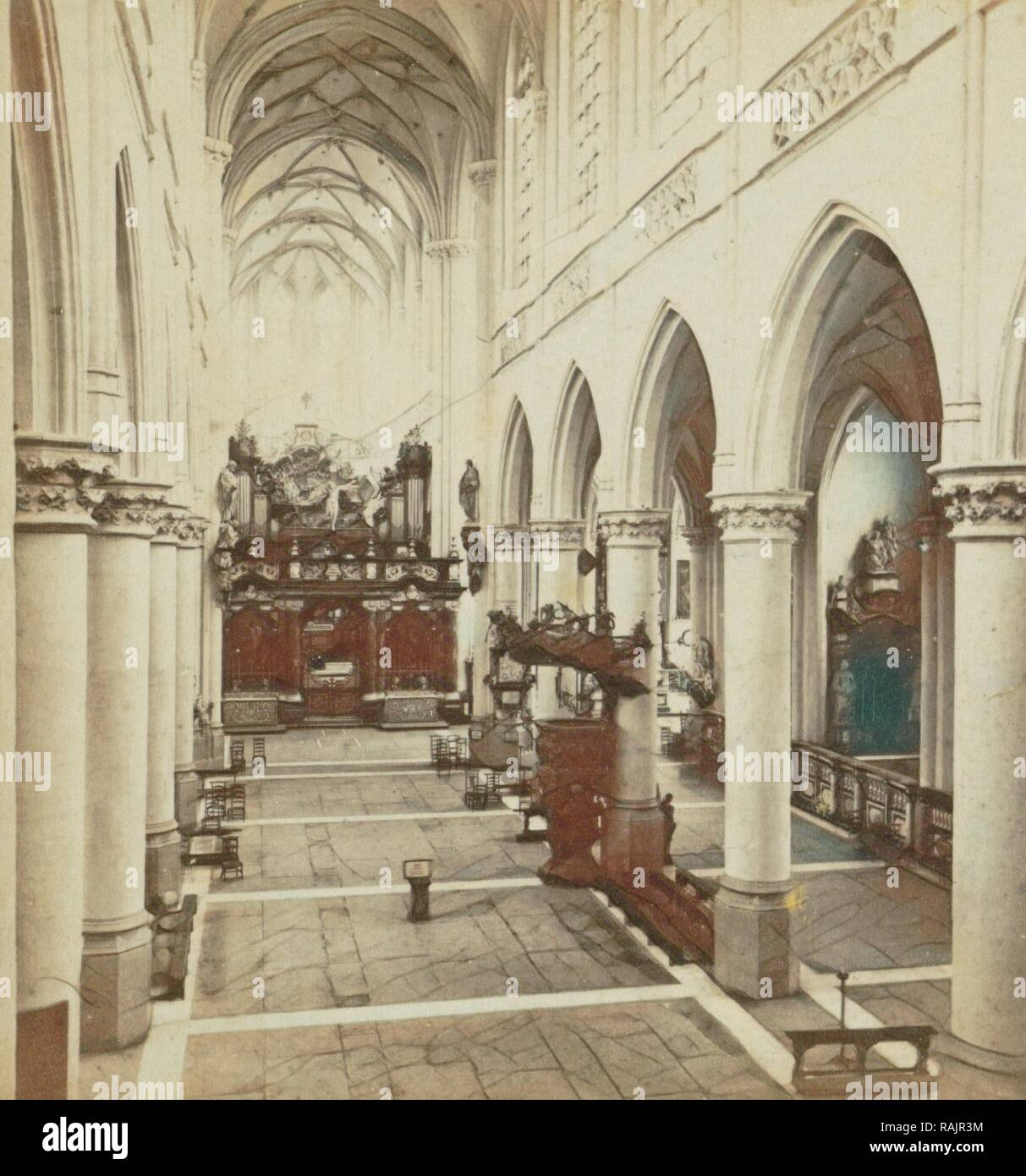 Liege, L'Eglise Saint-Jacques, vue interieure prise de l'orgue. Jules Queval, 1860 - 1880. Reimagined - Stock Image