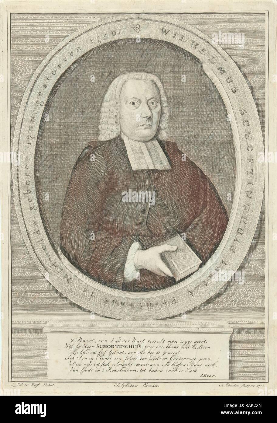 Portrait of the pastor Wilhelmus Schortinghuis, A. Durleu, Jurjen Spandaw, J. Bolt, 1760. Reimagined - Stock Image
