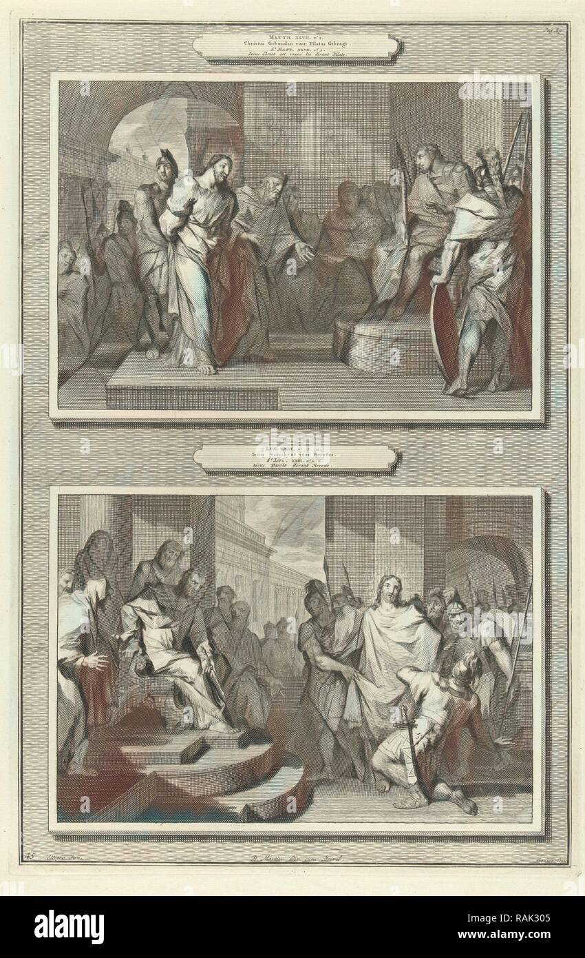 Christ before Pilate and Herod, Gilliam van der Gouwen, Pieter Mortier, Anonymous, 1700. Reimagined by Gibon. Classic reimagined - Stock Image