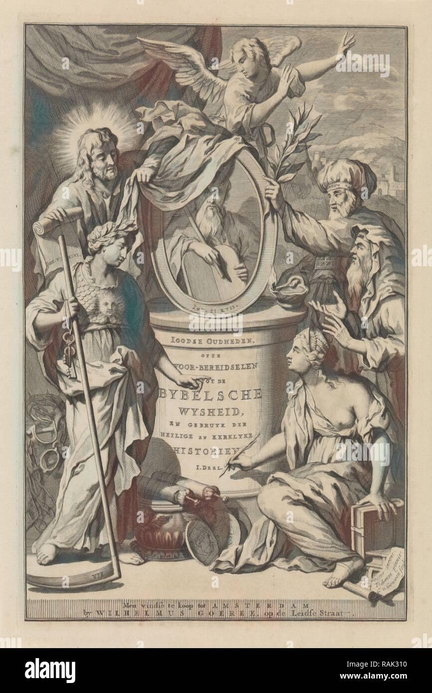 Bible Figures reveal the portrait of Moses, Gilliam van der Gouwen, Wilhelmus Goeree (I), 1690. Reimagined - Stock Image