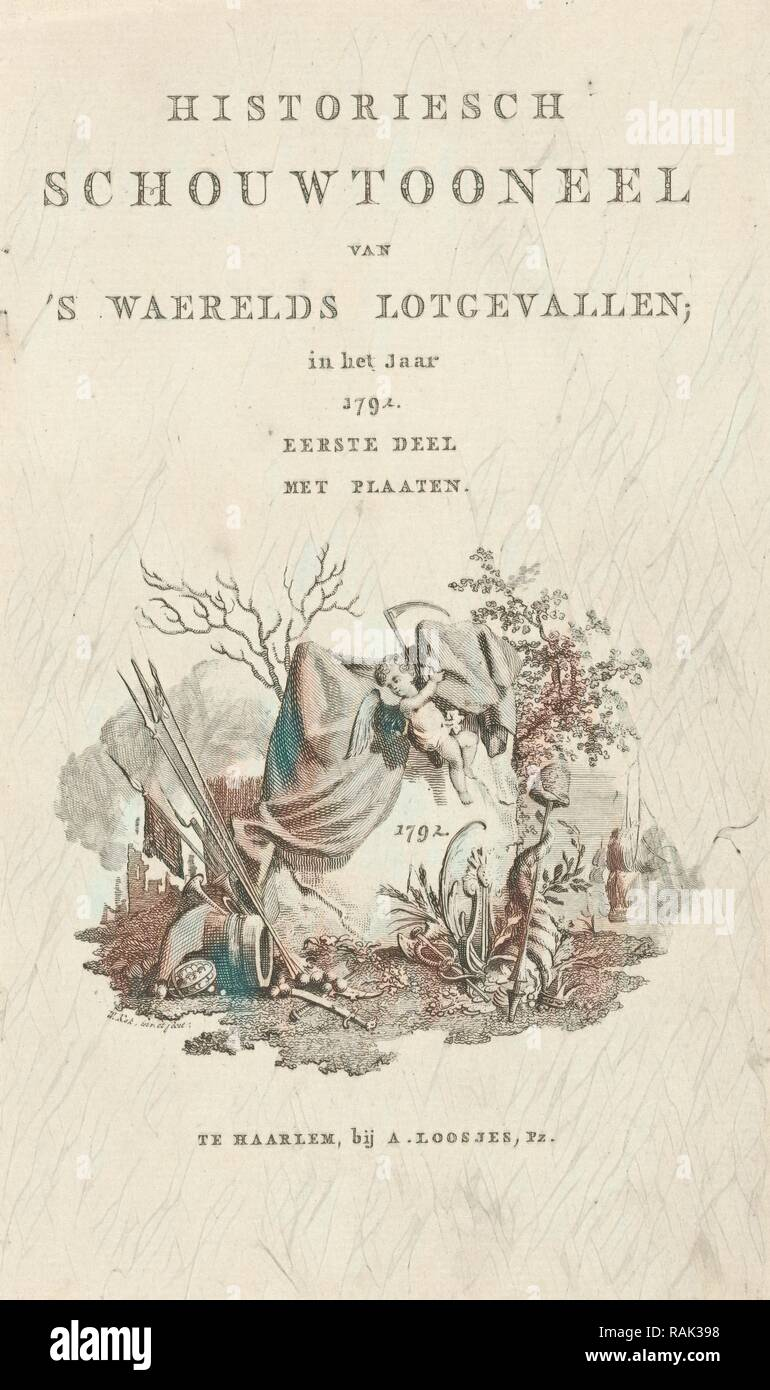 Title page for Historiesch theater of programs waerelds fate in the year 1792, Willem Kok, A. Loosjes, 1792 reimagined - Stock Image