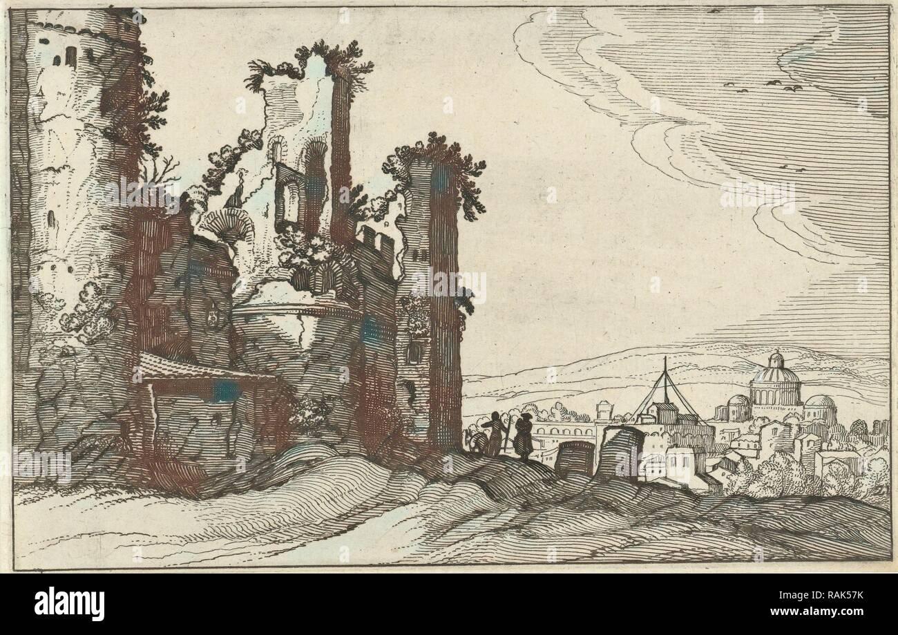 View of Rome from Monte Pincio, The Netherlands, Willem van Nieulandt (II), Anonymous, Claes Jansz. Visscher (II reimagined - Stock Image