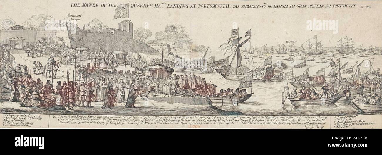 Arrival of Queen Catherine of Braganza in Portsmouth, Dirk Stoop, James Butler first Duke of Ormond, 1662. Reimagined - Stock Image