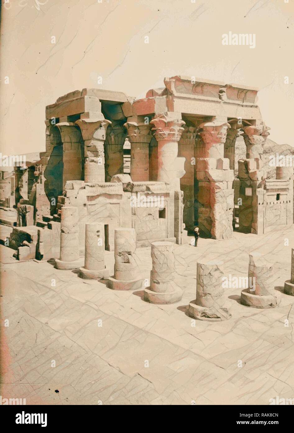 Egyptian views Kom-Ombo. Temple of Sobk and Horoeris 1900, Egypt. Reimagined by Gibon. Classic art with a modern reimagined Stock Photo