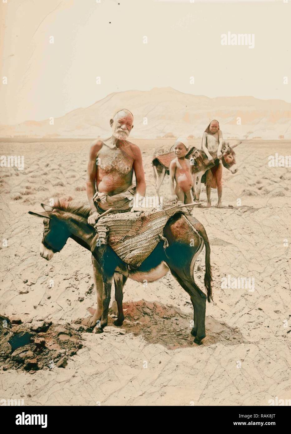 Peasants of Upper Egypt 1900, Egypt. Reimagined by Gibon. Classic art with a modern twist reimagined - Stock Image