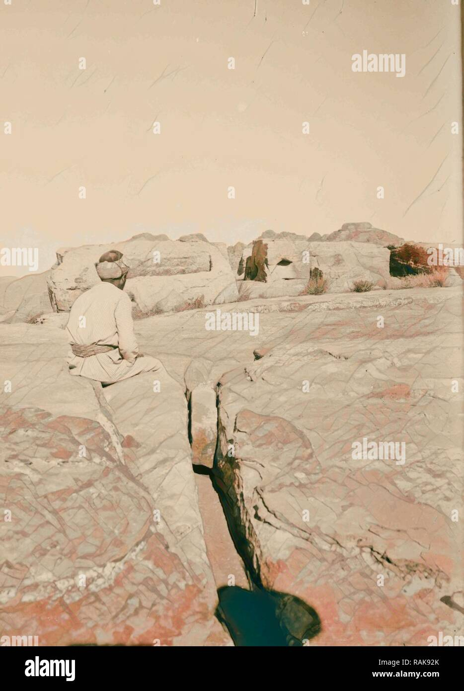 Petra in Transjordan, Side view of altars for sacrificing 1900, Jordan, Petra (Extinct city). Reimagined - Stock Image