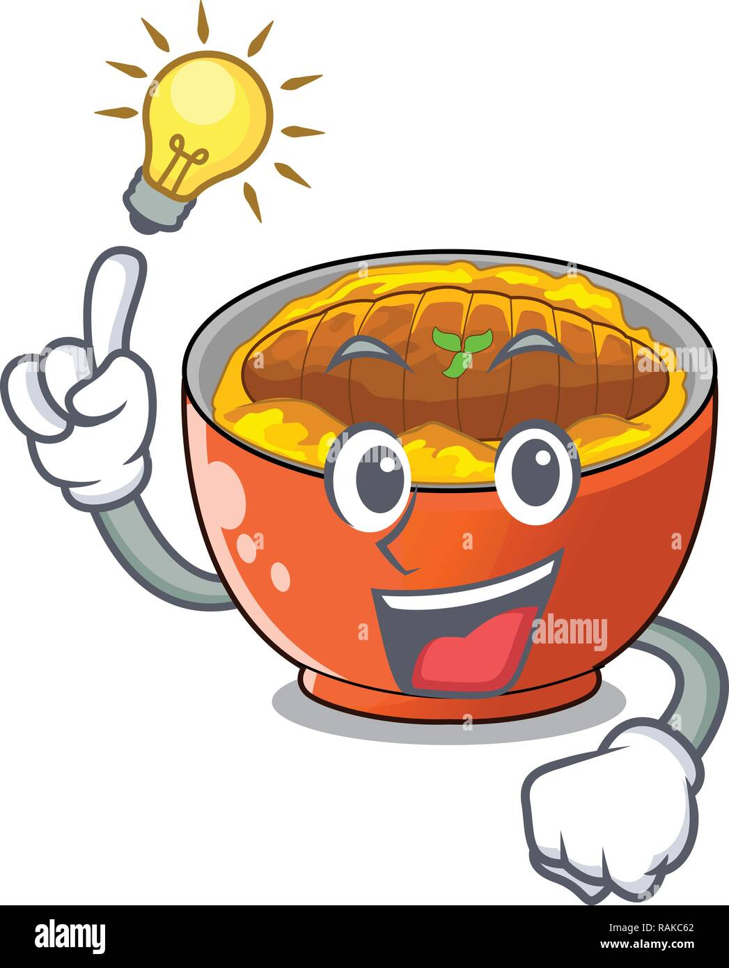 Have an idea katsudon is served on mascot plate - Stock Vector