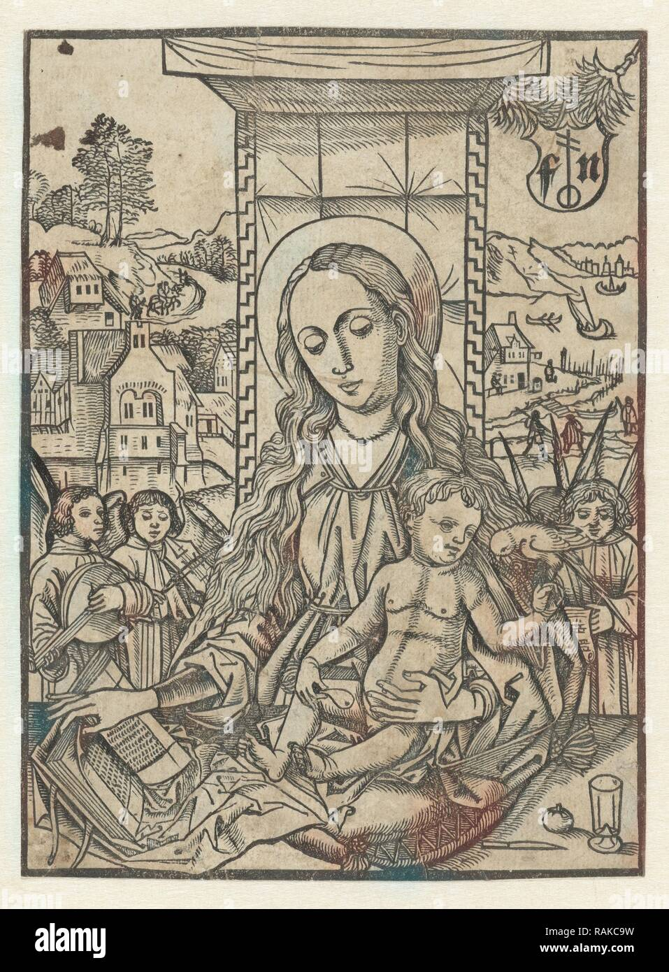 Mary and child with parrot, print maker: Monogrammist FN, Martin Schongauer, 1490 - 1500. Reimagined - Stock Image
