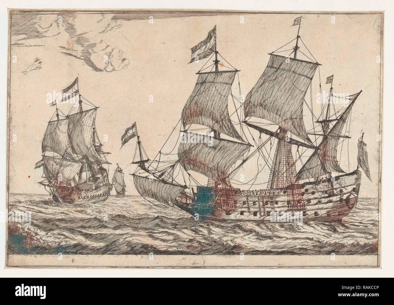 Two large warships, Reinier Nooms, 1650 - 1664. Reimagined by Gibon. Classic art with a modern twist reimagined - Stock Image