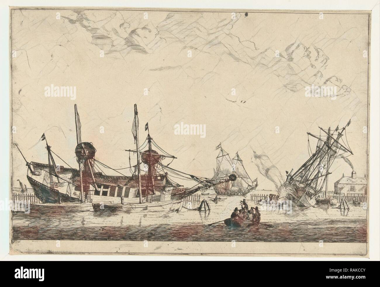 Two-keeled sailboats, Reinier Nooms, 1650 - 1664. Reimagined by Gibon. Classic art with a modern twist reimagined - Stock Image