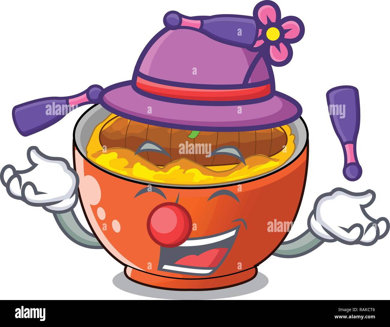 Juggling katsudon is served on mascot plate - Stock Vector