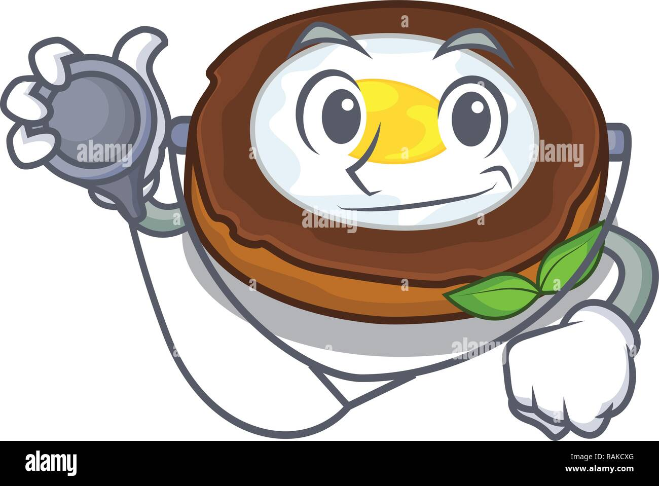 Doctor egg scotch cartoons are ready served - Stock Vector