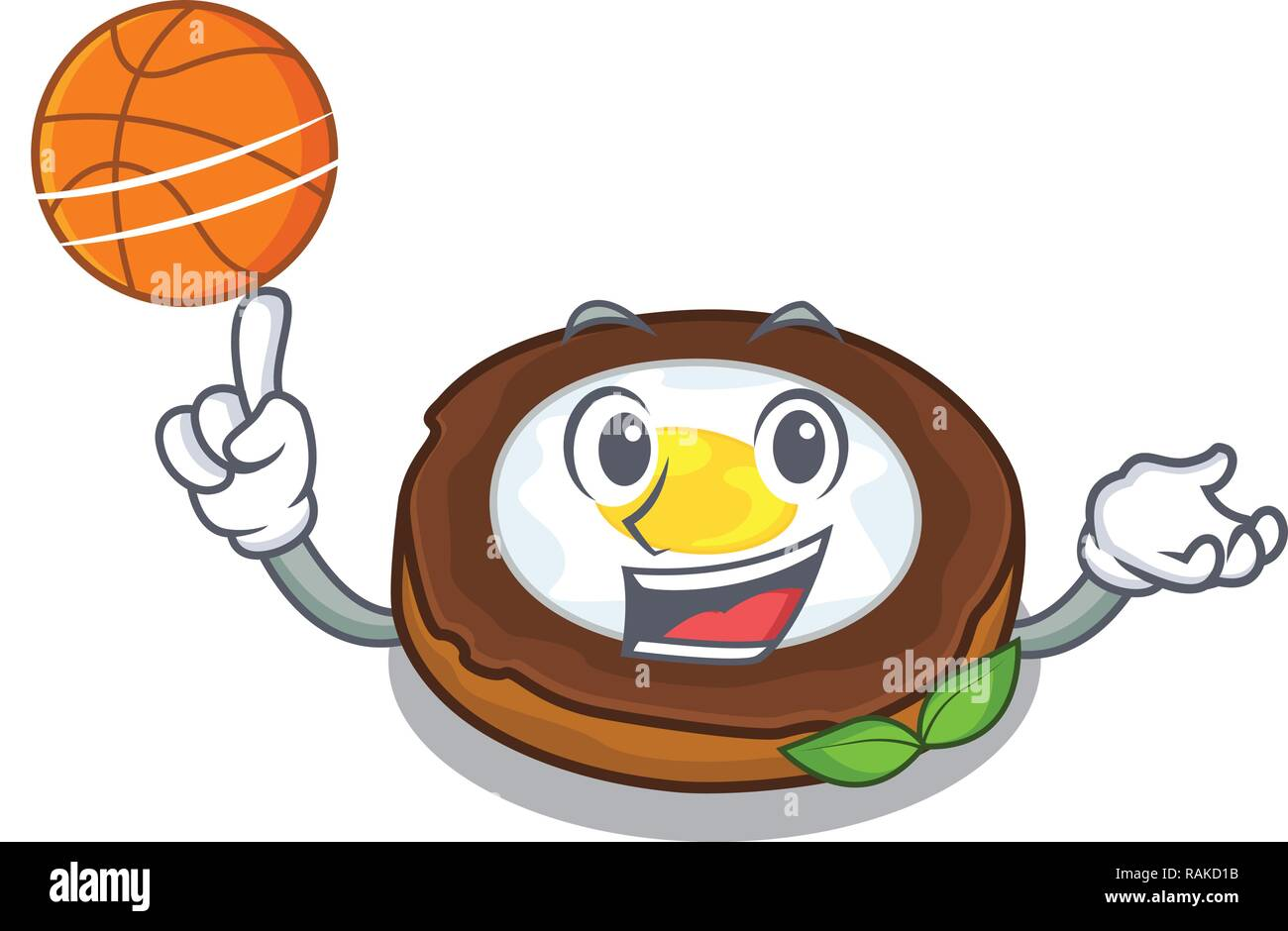 With basketball egg scotch cartoons are ready served - Stock Vector