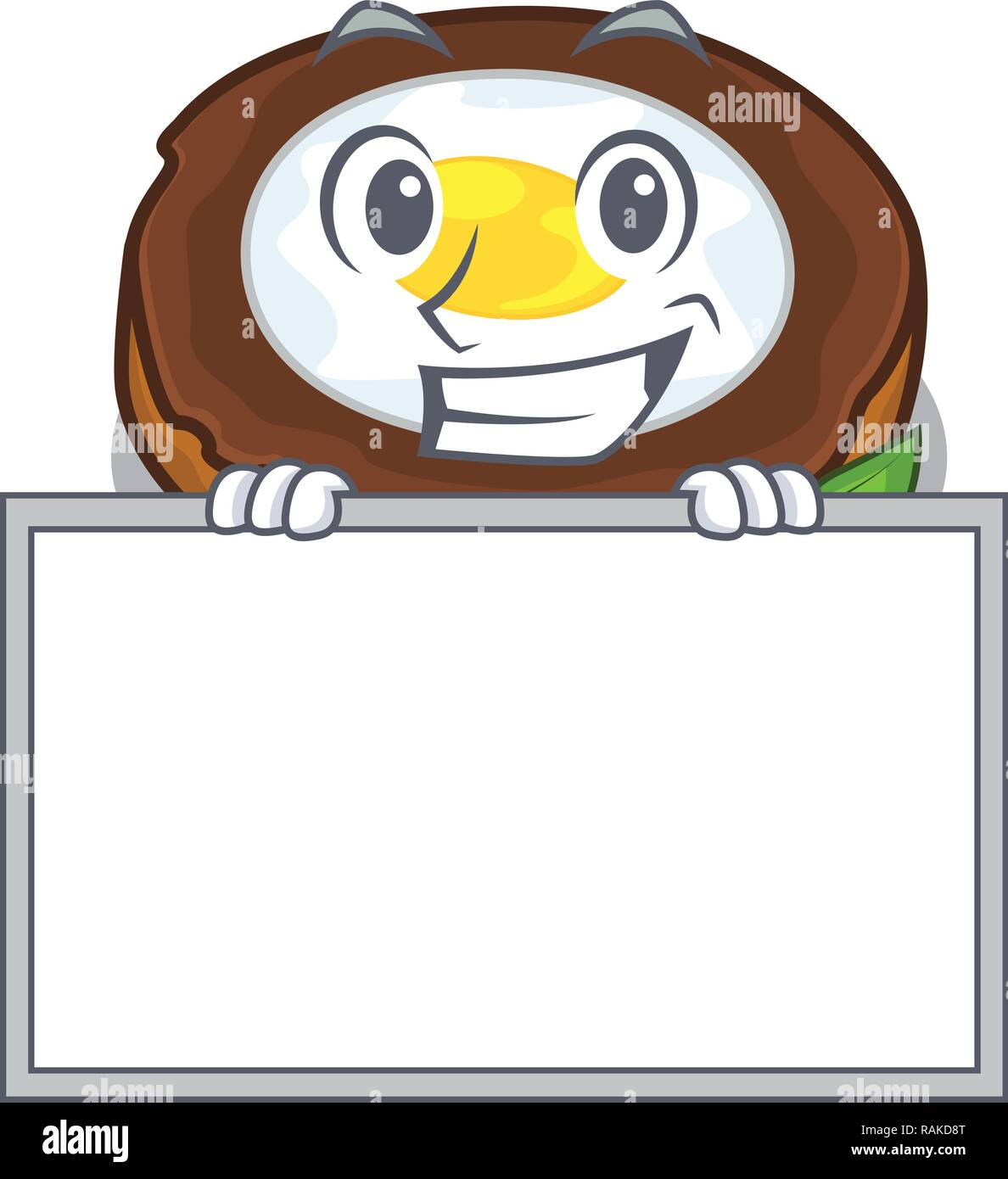 Grinning with board egg scotch cartoons are ready served - Stock Vector