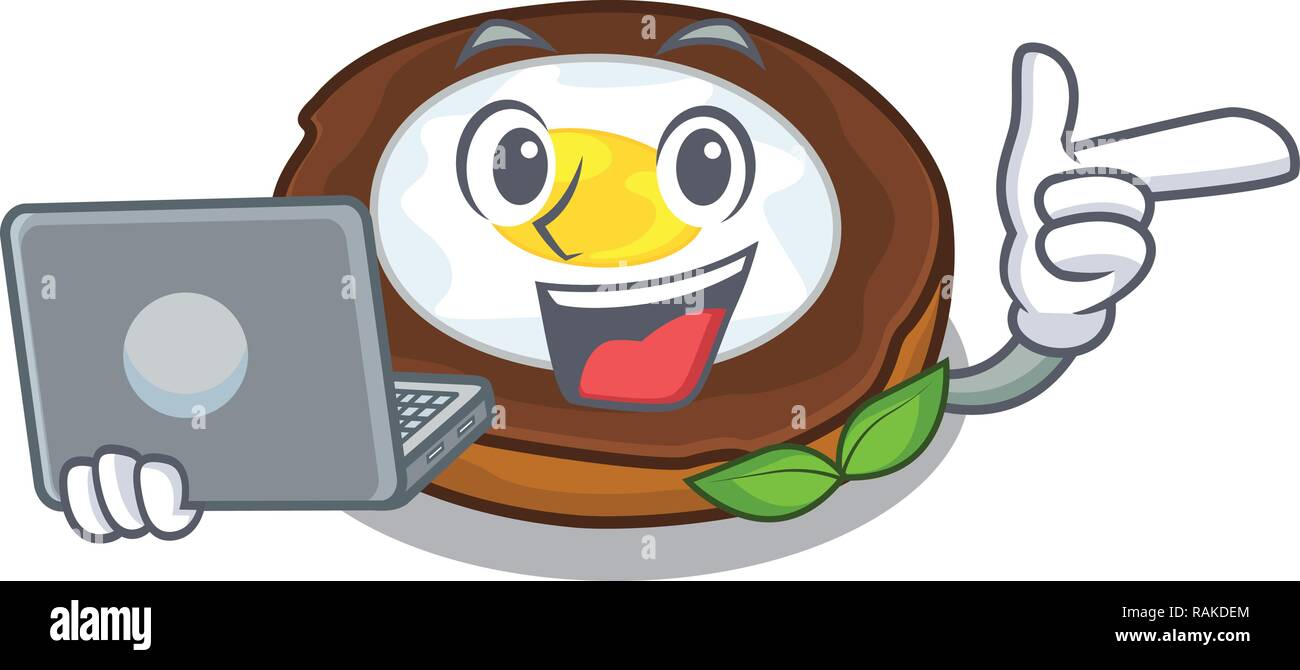 With laptop egg scotch cartoons are ready served - Stock Vector