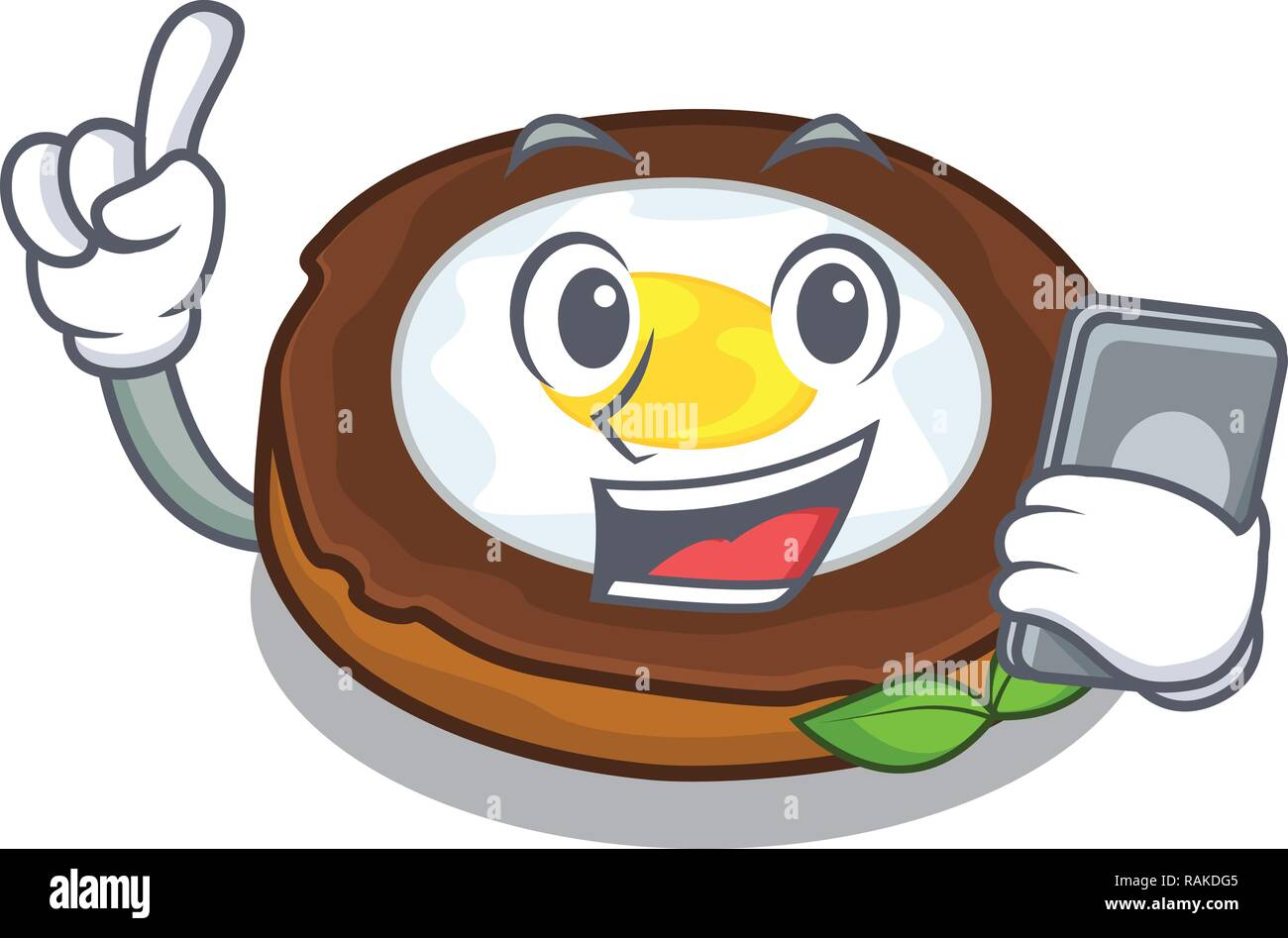 With phone egg scotch cartoons are ready served - Stock Vector