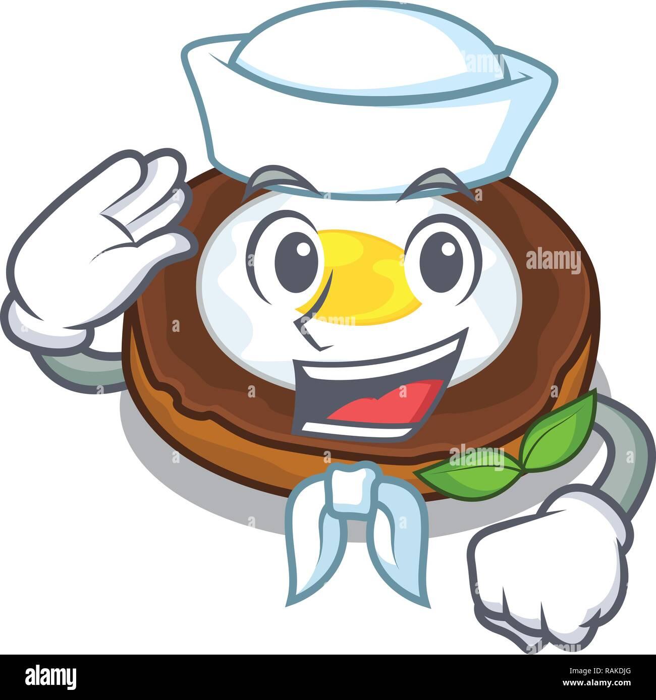 Sailor egg scotch cartoons are ready served - Stock Vector