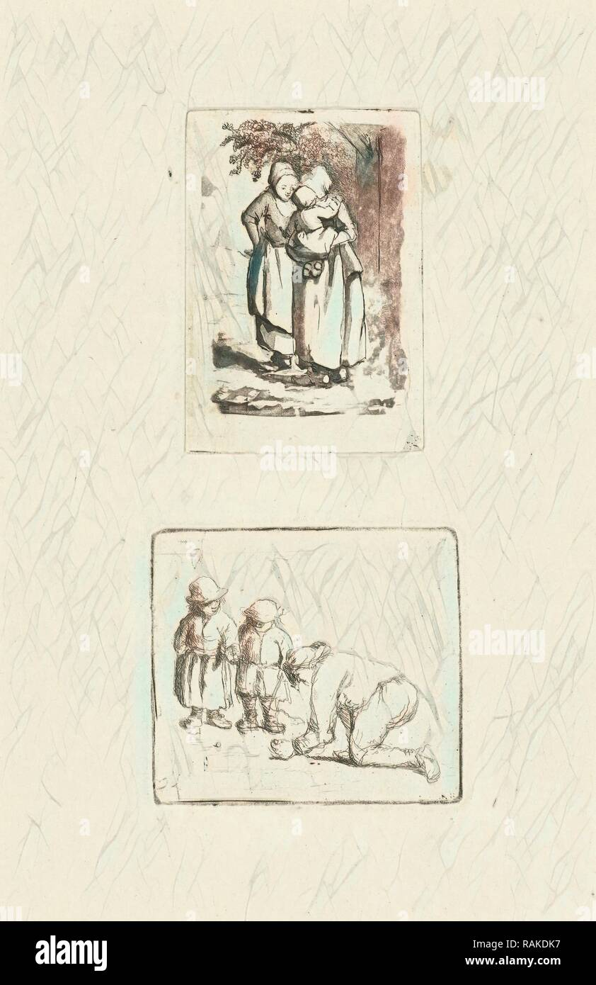 Two standing peasant women, one with a child on her arm, print maker: Marie Lambertine Coclers, 1776 - 1815 reimagined - Stock Image