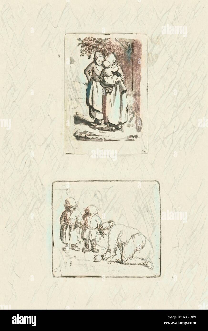 A man and two boys playing marbles, Marie Lambertine Coclers, 1776-1815. Reimagined by Gibon. Classic art with a reimagined - Stock Image