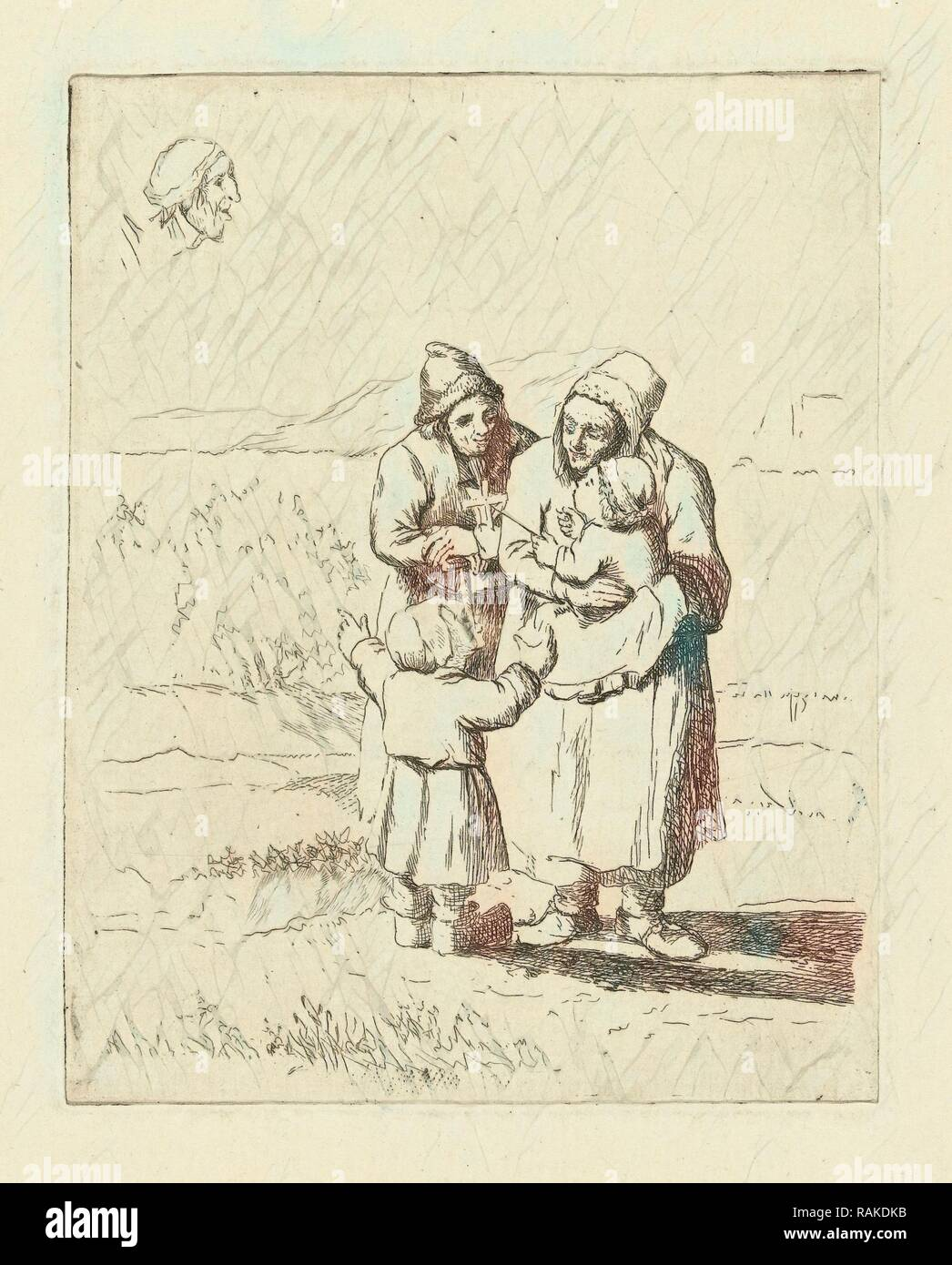 Study Sheet with family with two children, print maker: Marie Lambertine Coclers, 1776 - 1815. Reimagined - Stock Image