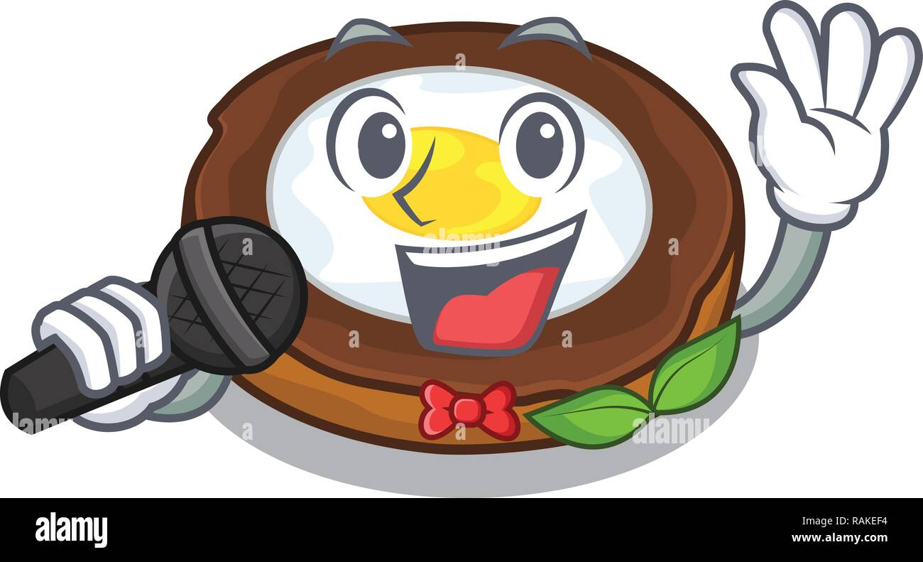 Singing egg scotch on character wood boards - Stock Vector
