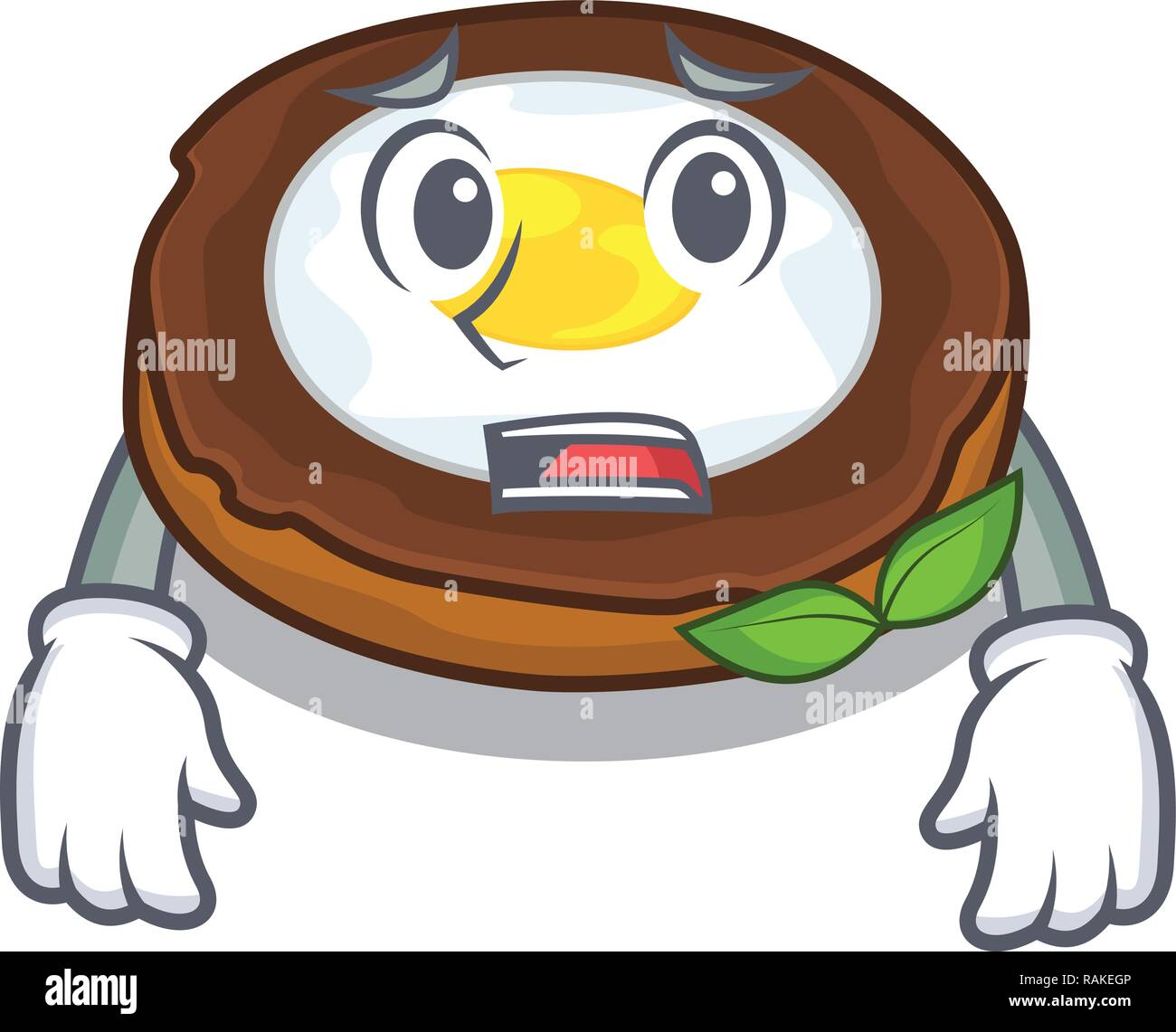 Afraid egg scotch on character wood boards - Stock Vector